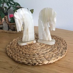 Mid-century onyx carved horse bookends